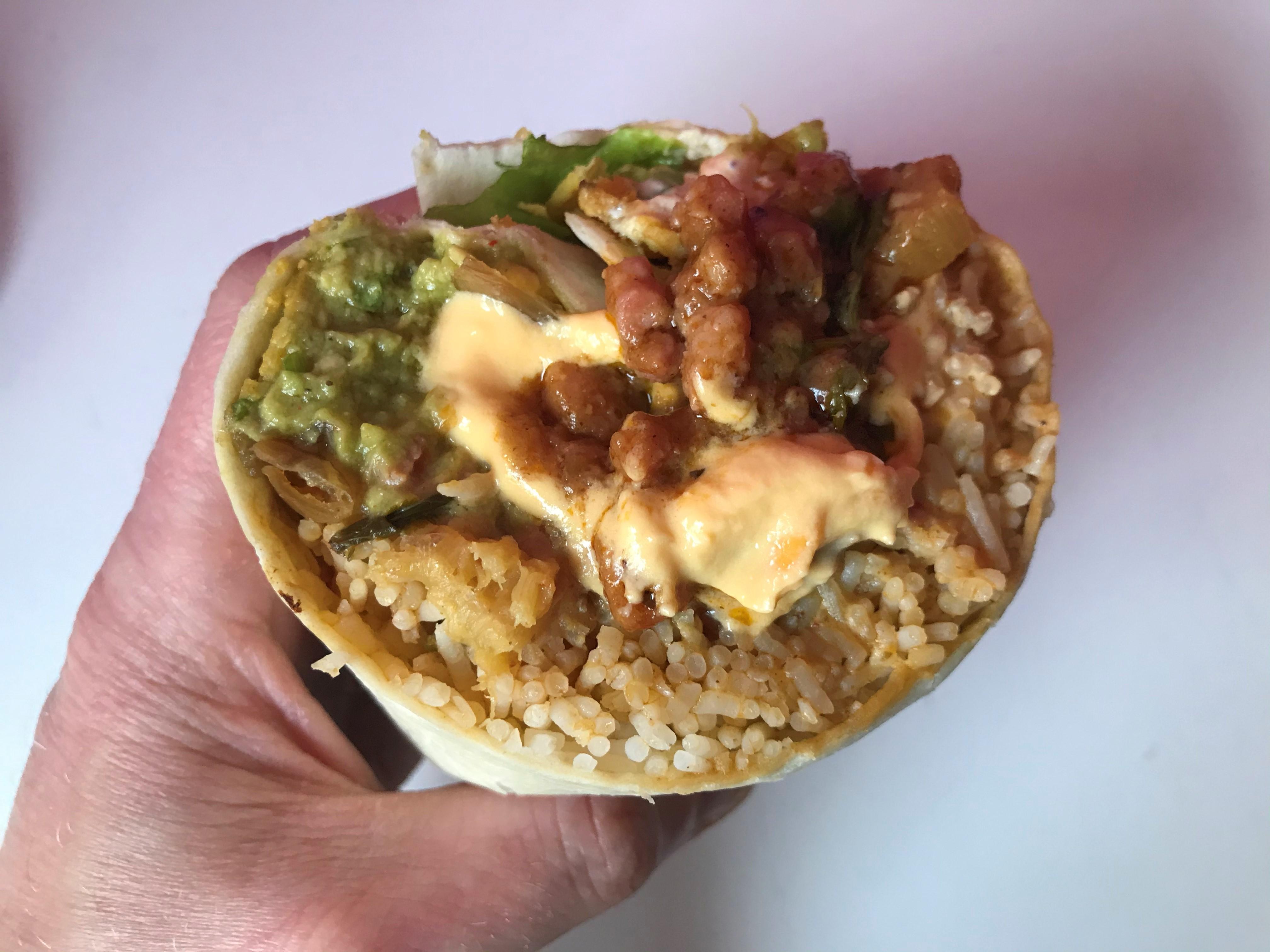 Cheesy-Chocolate Pork Mole Burrito