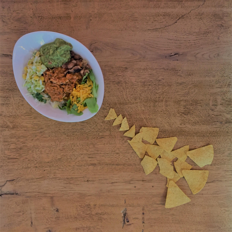 Chicken Chilaquiles-Rojos with Guacamole